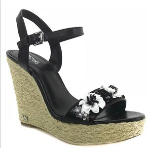Mk Black Jill Floral Sequined Leather Wedges